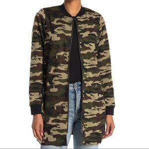 NWT Sanctuary Camo Print Long Full Zip Jacket Med